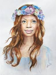 put your face in a with flower crown painting template