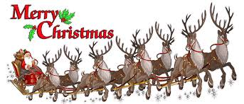 merry christmas santa claus with sleigh and reindeer window and