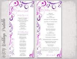 best wedding programs wedding program template purple fuchsia pink