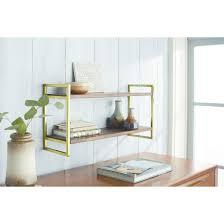 double wall shelf with polished brass finish medium threshold