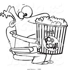 vector cartoon movie man holding big bucket popcorn