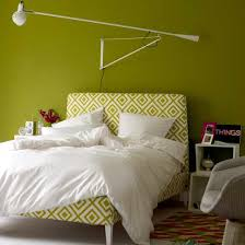 deluxe night stand together with green pattern bed design ideas