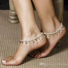 ankle cuff bracelet images 2018 crystal pearl beads anklet tassels foot jewelry barefoot jpg