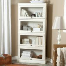 long wood and glass bookshelf on white wall paint color furniture