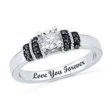 black diamond promise ring 1 10 ct t w enhanced black and white diamond promise ring in