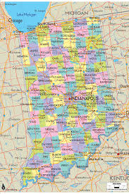 Usa Map By State by Map Of State Of Indiana With Its Cities Counties And Road Map
