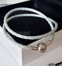 blue leather bracelet images Authentic genuine pandora light blue leather bracelet double 35cm jpg
