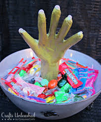 Halloween Candy Crafts by Spooky Monster Hand Candy Bowl