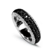wedding band costs 18ct white gold black diamond ring rings black