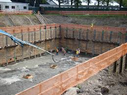 sheeting temporary wall of wood steel or precast concrete are