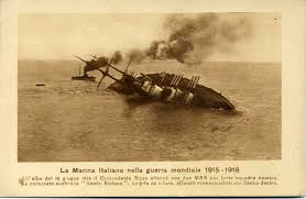 Austro Hungarian Empire Flag Italian Postcard With Photograph Of The Sinking Of The Austro