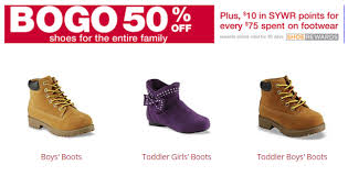 kmart s boots on sale buy 1 get 1 50 shoes for the family at kmart