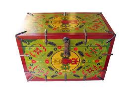 Vintage Chinese HandPainted Box Original  Rustic Wood - Rock furniture
