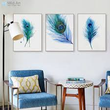 living room wall art triptych watercolor blue peacock feather a4 poster nordic living
