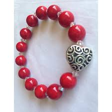 red beads bracelet images Heart pendant with swarovski elements and red bead band jpg