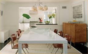 white mid century dining table white lacquer dining table cottage dining room blair gordon design