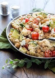 easy orzo and chickpea salad garnish with lemon