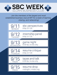 resume critique upcoming events sloan business club