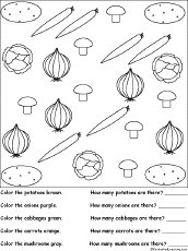 sorting color and count the vegetables worksheet printout