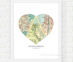 wedding gift map personalized wedding gift for heart map anniversary gifts