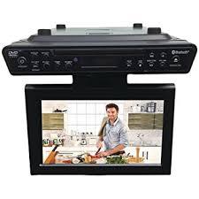 under cabinet dvd player mount amazon com sylvania skcr2706bt 10 2 under cabinet kitchen tv with