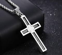 cross jesus necklace images China fashion punk male cross jesus pendants silver gold stainless jpg