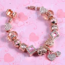 bracelet pandora rose images Pandora rose gold rhinestone love charm bracelet quot pandora rose jpg