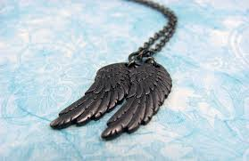 wings necklace pendant images Black wings necklace of castiel wings raven wings fallen jpg