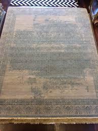 Blue Wool Rug Distressed Vintage Beige Grey Blue Wool Rug