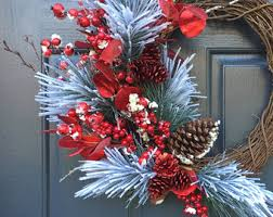 red berry wreath etsy