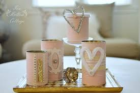 Repurpose Upcycle - shabby pink painted tin cans a repurposed craft fox hollow cottage