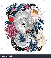 hand drawn dragon tattoo design coloring stock vector 666878185