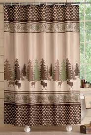 Cabin Shower Curtains Woodland Moose Bears In The Woods Shower Curtain Bathroom Bath