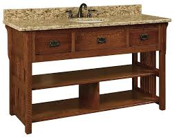 craftsman bathroom vanity cabinets open vanity 60 lancaster mission open single bathroom vanity