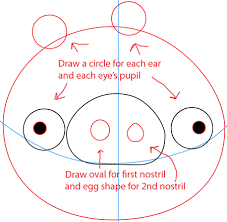 how to draw green pig from angry birds game in with easy step by