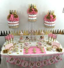 Pink And Gold Baby Shower Decorations by Pink U0026 Gold Princess Candy Buffet Diaper Cake Centerpiece With