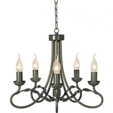 Black Traditional Chandelier Matt Black 5 Light Candle Style Chandelier With Copper Lampholders