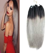 beaded hair extensions stock apply micro link hair extensions human 1g 1b grey two tone