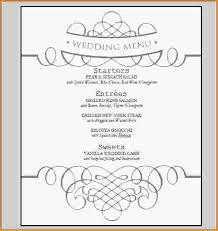 Wedding Menu Template Free Wedding Menu Template Wedding Menu Template 10 Word Jpg
