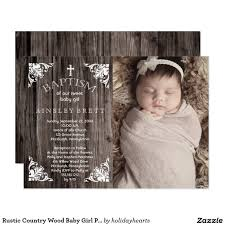 Christening Card Invitations Rustic Country Wood Baby Photo Baptism Card Invitations