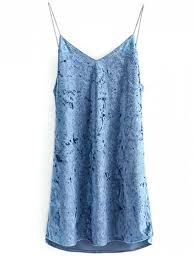 crushed velvet cami dress light blue casual dresses m zaful