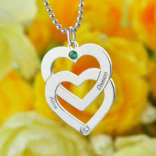 my name jewelry birthstones heart necklace silver personalized couples name