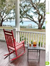 Red Rocking Chairs Red Rocking Chair And Iced Tea Stock Photo Image 86787879