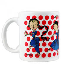 chumbak dancers of india red and blue coffee mug buy online at