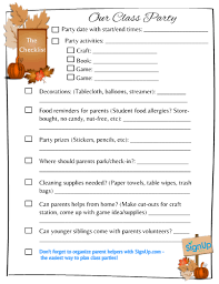 class checklist thanksgiving add to your parent
