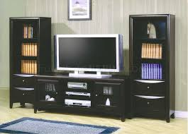 Tv Stands With Bookshelves by Deep Cappuccino Finish Modern Tv Stand W Framed Glass Doors