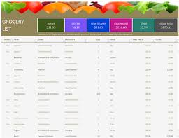 Shopping List Template Excel Grocery List Office Templates