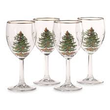 amazon com spode christmas tree wine goblets with gold rims set
