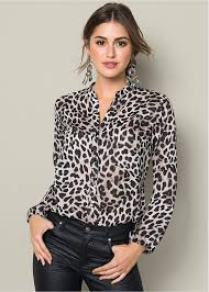 black button blouse button up leopard blouse in black multi venus