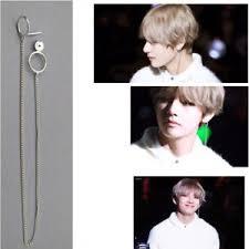bts earrings 2pcs kpop bts v earrings doulbe ring chain stud bangtan boys v
